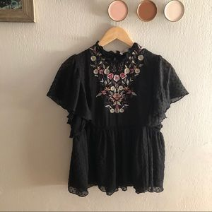Zara Black Embroidered Floral Baby Doll Top